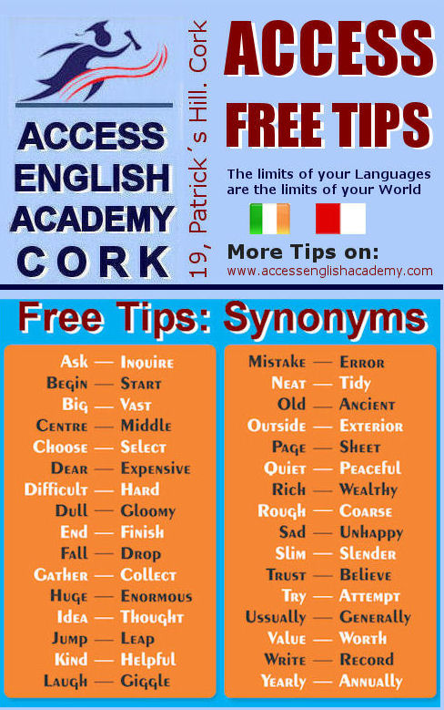 Course English Cork TIP SYNONIMYMS
